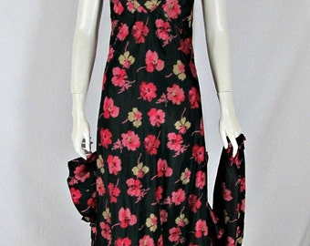 Vintage 1930s Dress- 30's Dress Floral Print Evening Gown Bias Cut XS Small Art Deco