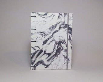 Gray Marbled Notebook with Elastic Closure