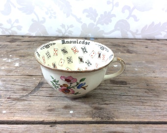 Fortune Teller Teacup, Cup of Knowledge, marked England, tea leaf reading, tiny chip