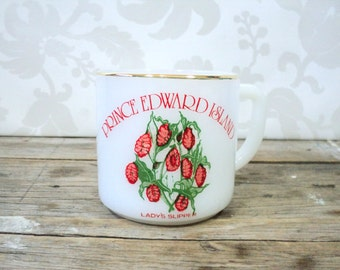 Coffee cup, Province of Canada souvenir Prince Edward Island, PEI, coffee mug, teacup, lady slipper flower