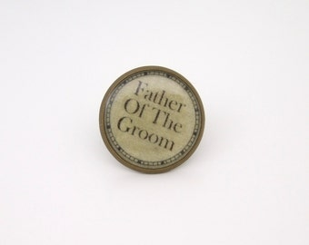 Wedding Tie/Lapel Pin Father of the Groom in Antique Bronze Finish