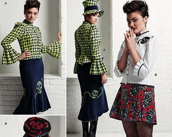 Simplicity 8020 Ladies'Steampunk styled blouse, hat and knit skirts in three sizes! New and uncut, only 5.99