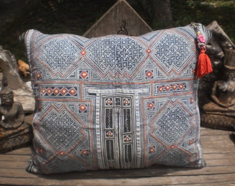 Indigo Batik Folk Art Textile Cushion Cover