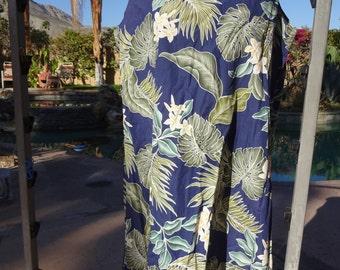 Vintage 1960s dress sundress 60s Hawaiian L/XL shift tropical print Royal Creations navy