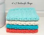 Coral & Aqua Crochet Dishcloths - Handmade Eco-Friendly Reusable Kitchen Cleaning Cloth - Set of 4