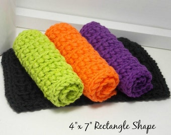 Halloween Crochet Dishcloths, Cotton Dishcloths, Hand Crochet Dishcloths, Set of 4 American Cotton