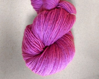 Violet  Rose Handdyed Corriedale Wool DK Weight Yarn, 3-ply, For Knitting, Crochet and Felting