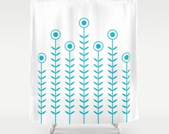 36 colours, Scuba Blue, Minimalist Flowers Shower Curtain, Scandinavian style, geometric shower curtains, flower pattern bathroom decor