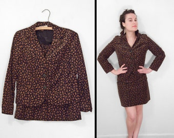 1960s MADISON Suit Corduroy Skirt Blazer Set Black + Tan Floral Size Small