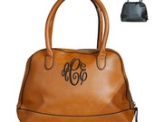 Monogram Handbag, Monogrammed Shell Leather Purse, Monogram Faux Leather Handbag, Monogram Tote Bag