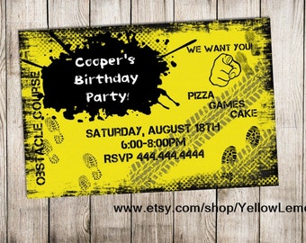 Obstacle birthday party invitation (digital file) Mud, dirt, paint ...