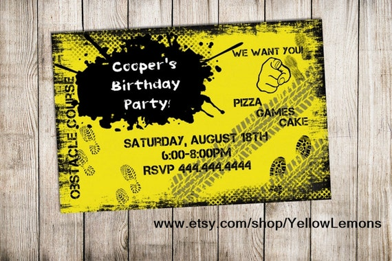 Items Similar To Obstacle Birthday Party Invitation