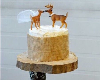 Redneck Cake Topper / Deer Cake Topper / Wedding Cake Topper / Rustic White Tail Deer Cake Topper
