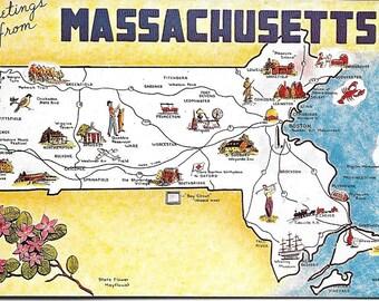 Vintage Postcard Not Used Masschusetts State Map Slick Finish Dexter Press