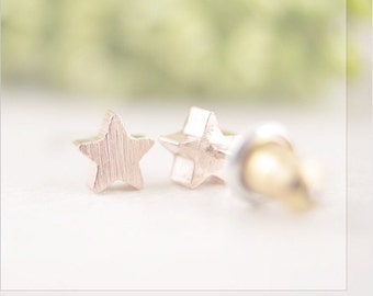 Rose gold star earrings - star studs - rose gold earrings -  proceeds donated to Humane Society - dainty earrings - star stud earrings