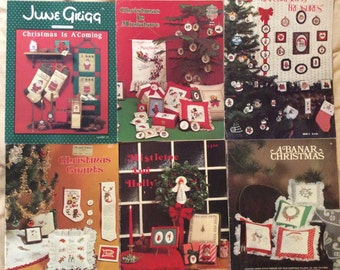 Collection of Christmas Cross Stitch Needlepoint books