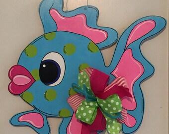 Fish Door Hanger, Summer Door Hanger, Blue Fish Door Hanger, Beach Door Hanger, Tropical Fish, Whimsical Fish