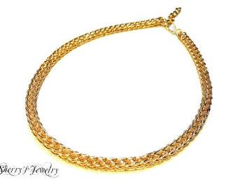 Handmade 14kt gold viking knit choker