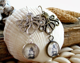 The Kraken Earrings in Bronze or Silver - Octopus Earrings with Pirate Ship - Pirate Jewelry