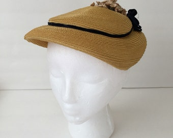 Vintage Yellow Straw 1950's Hat