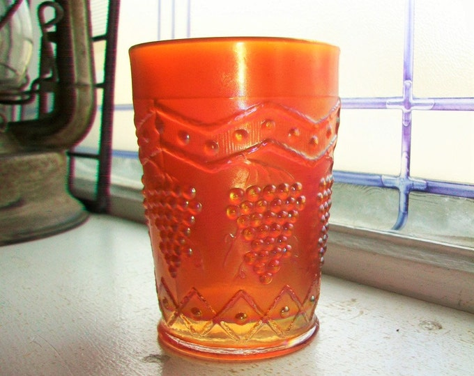 Antique Carnival Glass Tumbler Lattice and Grape Fenton Circa 1910s