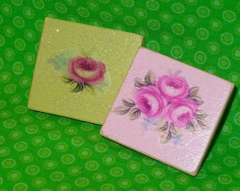 Lot of 2 Handcrafted SHABBY Cottage CHIC Refrigerator MAGNETS Sage & Pink Roses