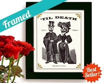 Skeleton Wedding Unique Wedding and Engagement Gift Macabre Art Print for Couples Personalized Plain Black Frame Day of the Dead