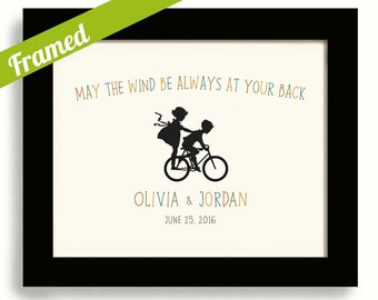 May the Wind Irish Wedding Gift Irish Proverb Print Unique Engagement Gift Framed Gift for Couples Bicycle for Two Personalized Wedding