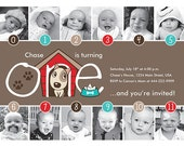 Puppy Timeline 1st Birthday Invitation (Girl or Boy) - Digital File