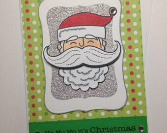 santa Christmas mustache holiday card
