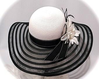 Kentucky Derby Hat Black & White Sun Hats Women's Hats DH-117