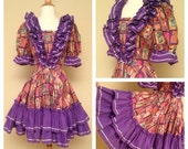 CLEARANCE Vintage Mexican Circle Skirt Western Swing Dress Rockabilly Pinups Size Medium - Loaded with Purple Ruffles Puffed Sleeves -