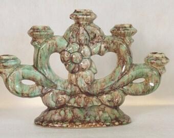 Vintage Candelabra 5 Position Candleholder Art Pottery Aqua Brown Home Decor Vintage Lighting Candle