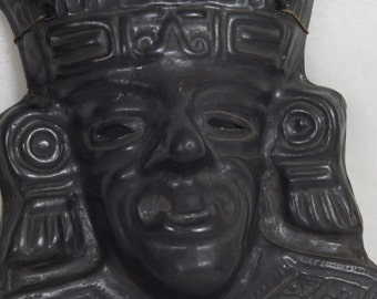 Black Pottery Mask Wallhanging Mayan Egyptian Mexican Pottery