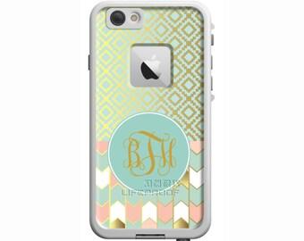 Mint To Be Designer Monogrammed LifeProof Fre or Nuud iPhone 6 Plus, iPhone 6, iPhone 5/5s, iPhone SE, iPhone 5c Custom Phone Case