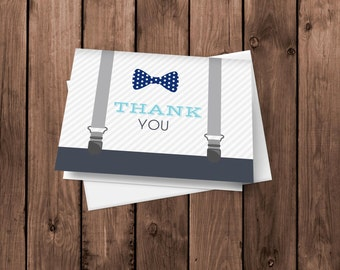 Little Man Bow Tie and Suspenders  - Thank You Card - Notecard - Stationery