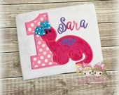 Pink Dinosaur Birthday Shirt- Pink Polka Dots- Birthday Number- Cute Dino- Custom embroidery