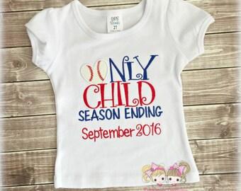 Only child baseball themed shirt - baseball pregnancy announcement- Only Child season ending - big sister shirt- baseball big sister shirt