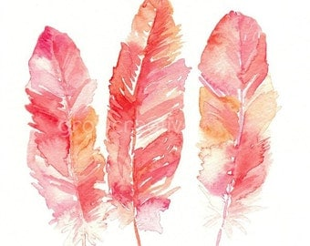 Pink Feathers Watercolor, Fine Art Giclee Print, feather art, watercolor feather, coral, red, feather painting, three feathers, boho decor
