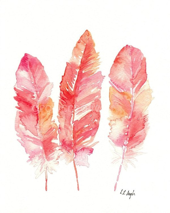 Pink Feathers Watercolor, Fine Art Giclee Print, feather art, watercolor feather, coral, red, feather painting, three feathers