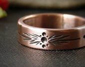 Stamped copper ring. Copper boho wedding band. Rustic patina jewelry.