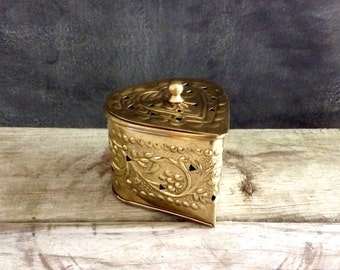Brass Box - Brass Heart Shaped Potpourri Holder - Fragrance Diffuser
