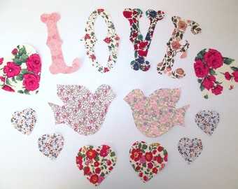 Liberty of London fabric appliques LOVE BIRDS peel backing and iron in place