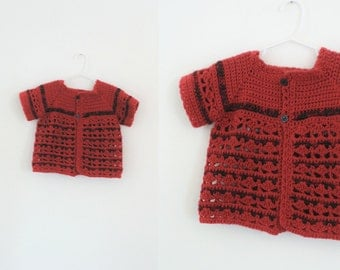 Vintage Girls Red Crochet Sweater Girls Crochet Sweater Girls Knit Sweater Girls Red Sweater Girls Christmas Sweater Size 6 Size 8 Si