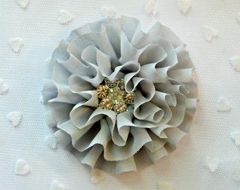"Gray Chiffon Flower. 3.5"" Ruffled Chiffon Flower. Rhinestone Center. QTY: 1 Flower. Anais Collection. A2-SF-001a"