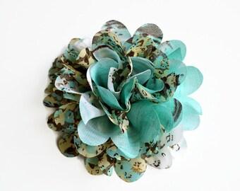 Teal Floral Chiffon Flower. 1 Flower