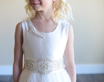 The 'Elsa' flower girl dress, junior bridesmaid dress, with crystal, diamante, pearl embellishmnets