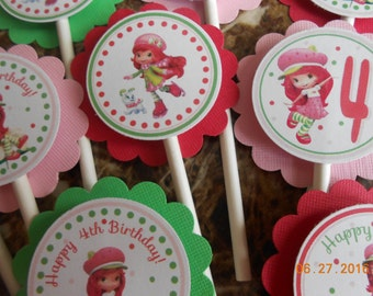 Strawberry Shortcake Cupcake Toppers-Strawberry Shortcake Toppers-Strawberry Shortcake Birthday Decoration-Strawberry Shortcake Party