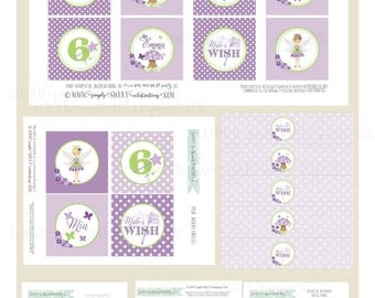 Pixie Dust Fairy Birthday Party Printable PDF files. Pixie Fairy in Purple and Lime green. Also available in multiple color choices