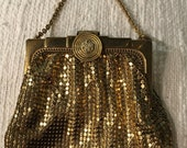 Gold mesh purse whiting and davis 30s art deco flapper metallic wristlet